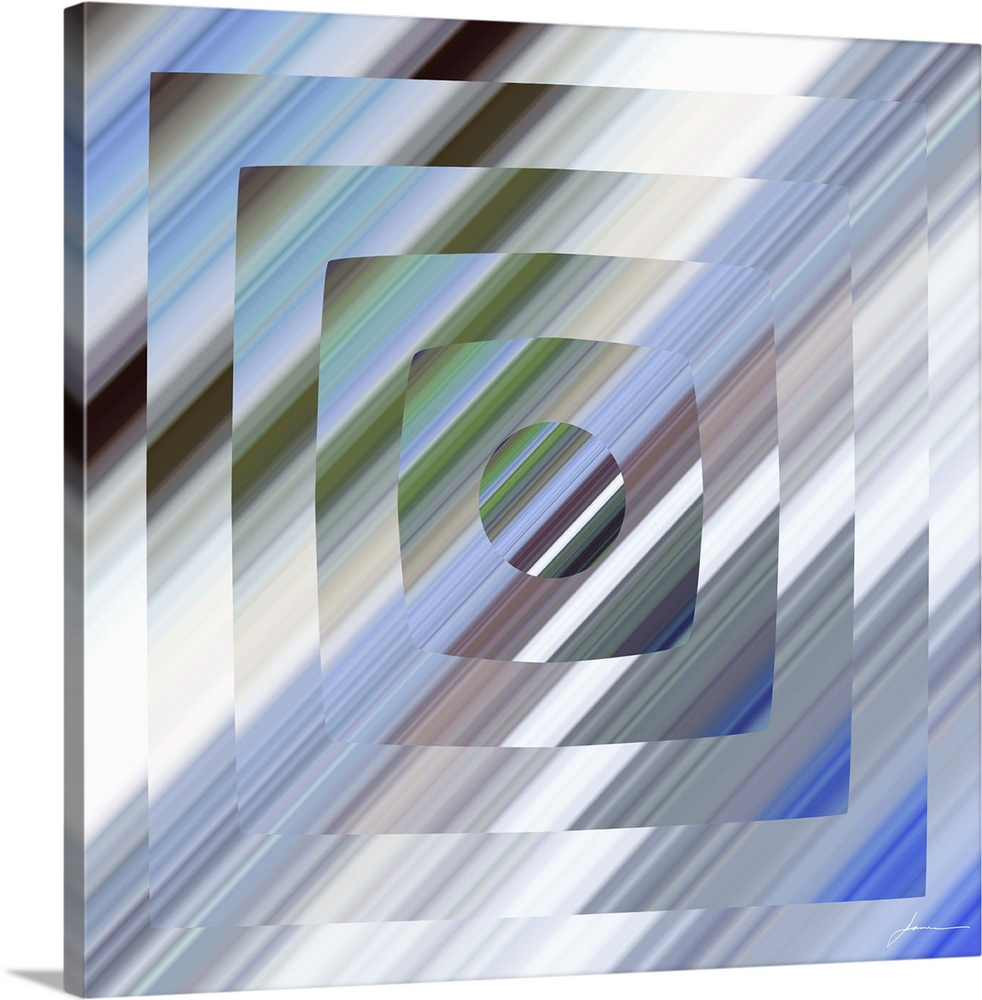 Large Gallery-Wrapped Canvas Wall Art Print 20 x 20 entitled Broadcast 3 Gallery-Wrapped Canvas entitled Broadcast 3.  A geometric abstract reminiscent of the flicker of old tube televisions.  Multiple sizes available.  Primary colors within this image include Forest Green, Gray, White, Royal Blue.  Made in the USA.  All products come with a 365 day workmanship guarantee.  Archival-quality UV-resistant inks.  Canvas frames are built with farmed or reclaimed domestic pine or poplar wood.  Canvas is a 65 polyester, 35 cotton base, with two acrylic latex primer basecoats and a semi-gloss inkjet receptive topcoat.