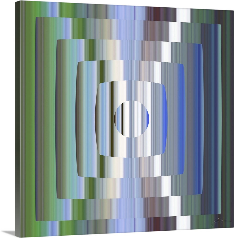 Large Gallery-Wrapped Canvas Wall Art Print 16 x 16 entitled Broadcast 4 Gallery-Wrapped Canvas entitled Broadcast 4.  A geometric abstract reminiscent of the flicker of old tube televisions.  Multiple sizes available.  Primary colors within this image include Forest Green, Silver, Muted Blue.  Made in USA.  All products come with a 365 day workmanship guarantee.  Inks used are latex-based and designed to last.  Canvas is a 65 polyester, 35 cotton base, with two acrylic latex primer basecoats and a semi-gloss inkjet receptive topcoat.  Canvas frames are built with farmed or reclaimed domestic pine or poplar wood.