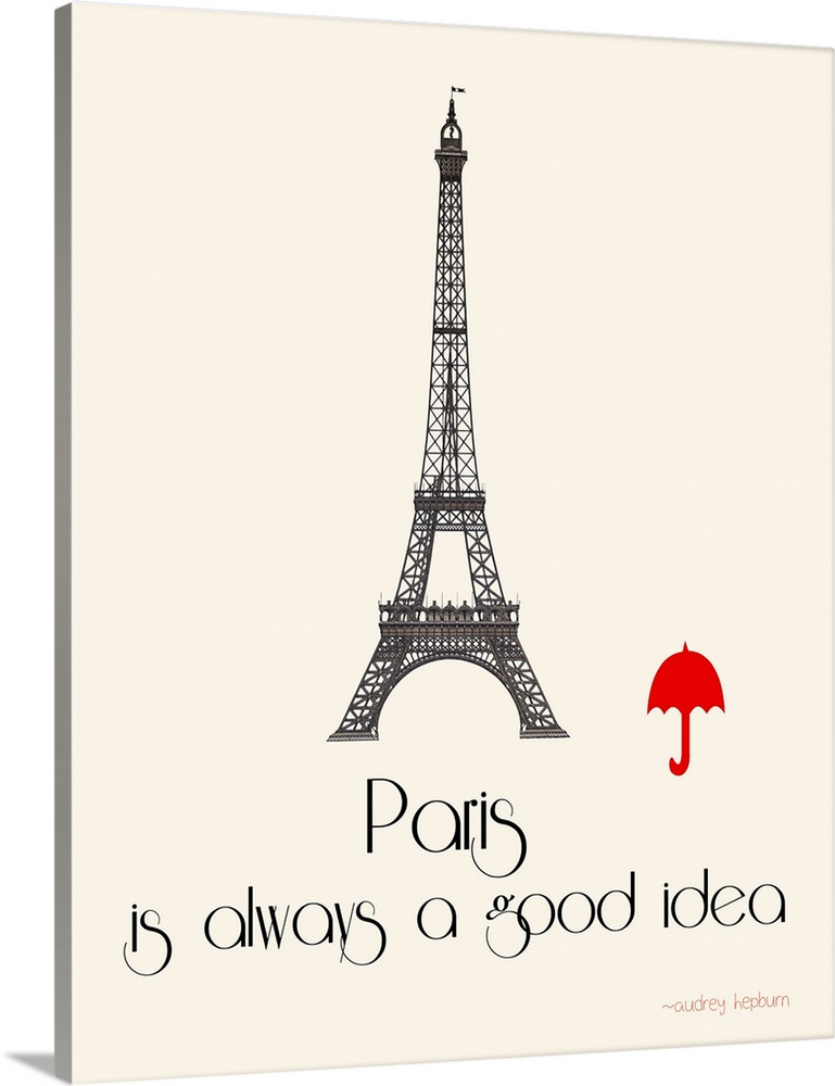 Large Gallery-Wrapped Canvas Wall Art Print 16 x 20 entitled Paris Idea Gallery-Wrapped Canvas entitled Paris Idea.  Contemporary minimalist artwork of the Eiffel Tower with a bright red umbrella image next to it.  Multiple sizes available.  Primary colors within this image include Red Black Gray White.  Made in the USA.  Satisfaction guaranteed.  Inks used are latex-based and designed to last.  Canvases have a UVB protection built in to protect against fading and moisture and are designed to last for over 100 years.  Canvas is a 65 polyester 35 cotton base with two acrylic latex primer basecoats and a semi-gloss inkjet receptive topcoat.