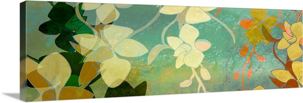 Large Solid-Faced Canvas Print Wall Art Print 48 x 16 entitled Shadow Florals - Panel Solid-Faced Canvas Print entitled Shadow Florals - Panel.  Big contemporary art shows different groups of flowers as they are layered on top of each other and create depth.  Artist uses solid colors and minimal detail on the flowers.  Multiple sizes available.  Primary colors within this image include Dark Yellow, Peach, Gray, Dark Forest Green.  Made in the USA.  Satisfaction guaranteed.  Inks used are latex-based and designed to last.  Canvas depth is 1.25 and includes a finished backing with pre-installed hanging hardware.  Archival inks prevent fading and preserve as much fine detail as possible with no over-saturation or color shifting.