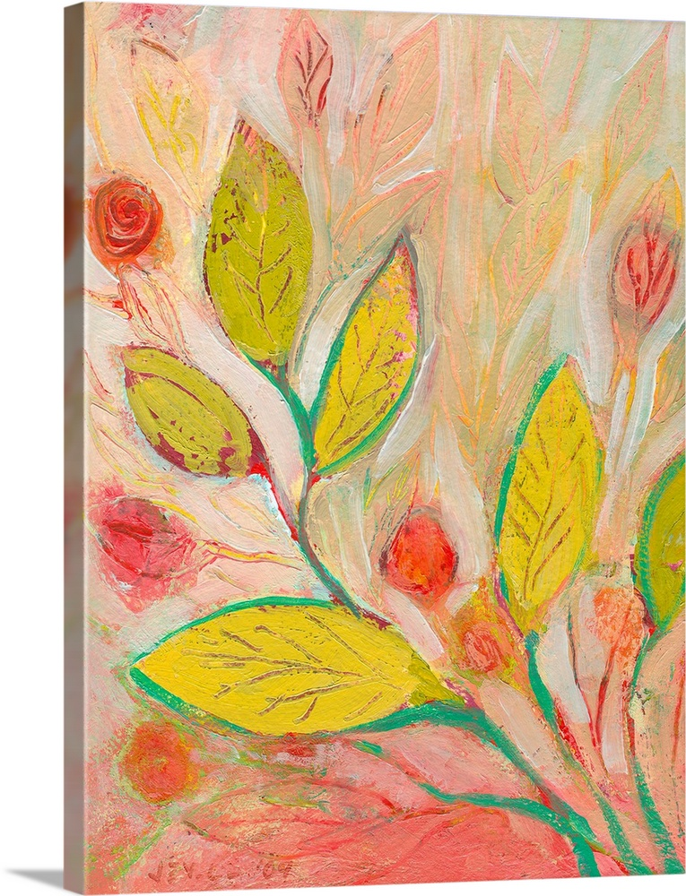 Large Solid-Faced Canvas Print Wall Art Print 30 x 40 entitled A Garden Softly Spoken Solid-Faced Canvas Print entitled A Garden Softly Spoken.  Vertical, floral painting on large canvas of a large branch of leaves reaching diagonally from the lower right.  Surrounded by small flowers and more leaves in the background.  Multiple sizes available.  Primary colors within this image include Orange, Yellow, Forest Green, Peach.  Made in the USA.  Satisfaction guaranteed.  Archival-quality UV-resistant inks.  Archival inks prevent fading and preserve as much fine detail as possible with no over-saturation or color shifting.  Featuring a proprietary design, our canvases produce the tightest corners without any bubbles, ripples, or bumps and will not warp or sag over time.
