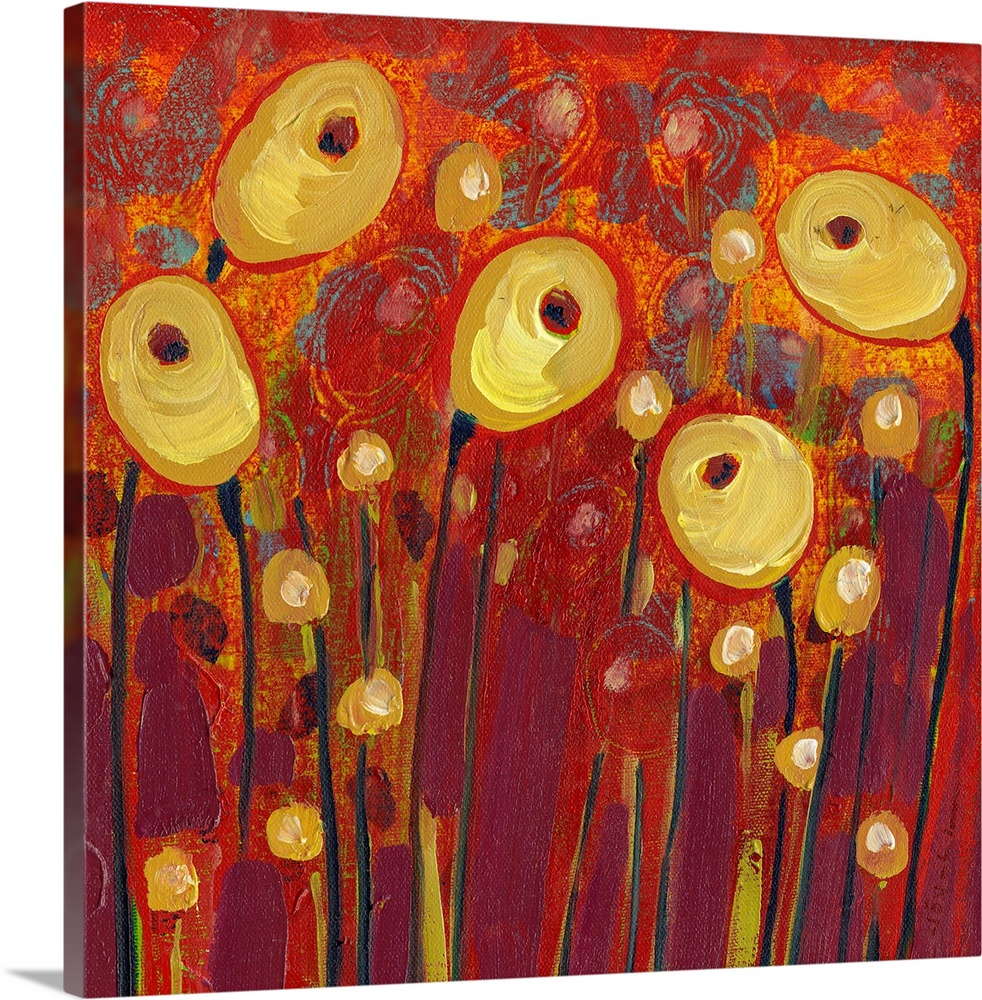 Large Solid-Faced Canvas Print Wall Art Print 20 x 20 entitled Common Poppies in the Royal Garden Solid-Faced Canvas Print entitled Common Poppies in the Royal Garden.  Five floral pods stand out against a richly painted background in this wall art by a contemporary artist.  Multiple sizes available.  Primary colors within this image include Dark Red, Dark Yellow, Plum, Black.  Made in USA.  All products come with a 365 day workmanship guarantee.  Inks used are latex-based and designed to last.  Archival inks prevent fading and preserve as much fine detail as possible with no over-saturation or color shifting.  Canvas is handcrafted and made-to-order in the United States using high quality artist-grade canvas.