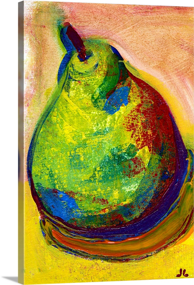 Large Solid-Faced Canvas Print Wall Art Print 20 x 30 entitled Fat Ripe Pear Solid-Faced Canvas Print entitled Fat Ripe Pear.  A piece of contemporary artwork of a drawn pear that uses various colors for shading and shadowing.  Multiple sizes available.  Primary colors within this image include Yellow, Dark Yellow, Plum, Peach.  Made in USA.  Satisfaction guaranteed.  Archival-quality UV-resistant inks.  Featuring a proprietary design, our canvases produce the tightest corners without any bubbles, ripples, or bumps and will not warp or sag over time.  Canvas is handcrafted and made-to-order in the United States using high quality artist-grade canvas.