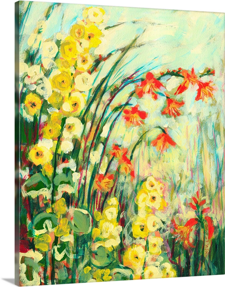 Large Solid-Faced Canvas Print Wall Art Print 24 x 30 entitled My Secret Garden Solid-Faced Canvas Print entitled My Secret Garden.  A decorative accent for the home or office this artwork shows flowers and grass arching over the composition of a contemporary, vertical painting.  Multiple sizes available.  Primary colors within this image include Orange, Yellow, Forest Green, Light Yellow.  Made in the USA.  Satisfaction guaranteed.  Archival-quality UV-resistant inks.  Featuring a proprietary design, our canvases produce the tightest corners without any bubbles, ripples, or bumps and will not warp or sag over time.  Canvas is handcrafted and made-to-order in the United States using high quality artist-grade canvas.