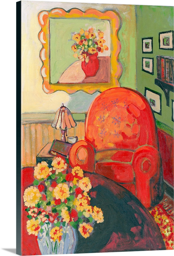 Large Gallery-Wrapped Canvas Wall Art Print 16 x 24 entitled Reading in the Green Room Gallery-Wrapped Canvas entitled Reading in the Green Room.  A contemporary painting of a large red arm chair that sits next to a small table with a lamp and book on it. A table of flowers sits in front of the chair as well as a painting of flowers above it.  Multiple sizes available.  Primary colors within this image include Orange, Peach, Dark Forest Green.  Made in the USA.  All products come with a 365 day workmanship guarantee.  Archival-quality UV-resistant inks.  Museum-quality, artist-grade canvas mounted on sturdy wooden stretcher bars 1.5 thick.  Comes ready to hang.  Canvas frames are built with farmed or reclaimed domestic pine or poplar wood.