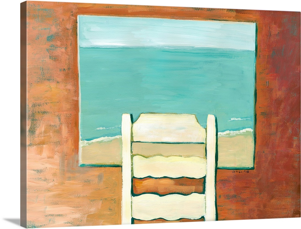 Large Gallery-Wrapped Canvas Wall Art Print 24 x 18 entitled Solitude Gallery-Wrapped Canvas entitled Solitude.  Contemporary painting of a ladder back chair facing an open window, looking out onto the beach and ocean below.  Multiple sizes available.  Primary colors within this image include Brown, Peach, Black, Teal.  Made in USA.  Satisfaction guaranteed.  Archival-quality UV-resistant inks.  Museum-quality, artist-grade canvas mounted on sturdy wooden stretcher bars 1.5 thick.  Comes ready to hang.  Canvas is acid-free and 20 millimeters thick.
