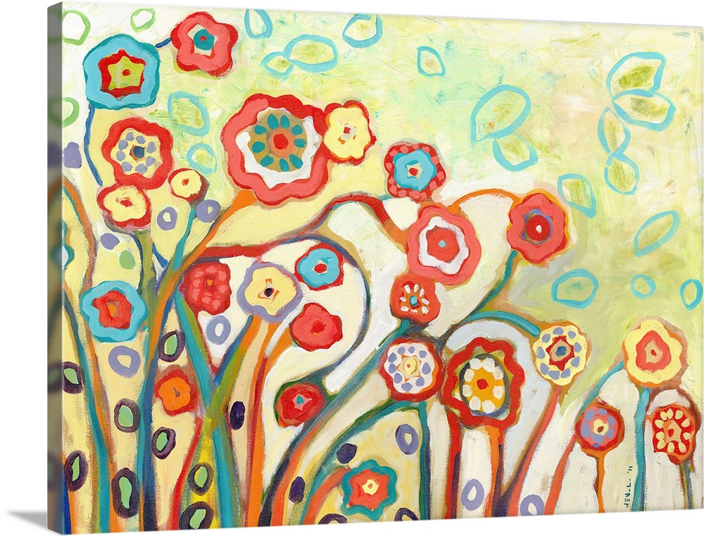 Large Solid-Faced Canvas Print Wall Art Print 40 x 30 entitled The Garden of My Dreams Solid-Faced Canvas Print entitled The Garden of My Dreams.  This horizontal wall art features stylized flowers created with energetic brush strokes in an abstract painting.  Multiple sizes available.  Primary colors within this image include Orange, Pink, White, Teal.  Made in USA.  Satisfaction guaranteed.  Archival-quality UV-resistant inks.  Canvas is handcrafted and made-to-order in the United States using high quality artist-grade canvas.  Archival inks prevent fading and preserve as much fine detail as possible with no over-saturation or color shifting.