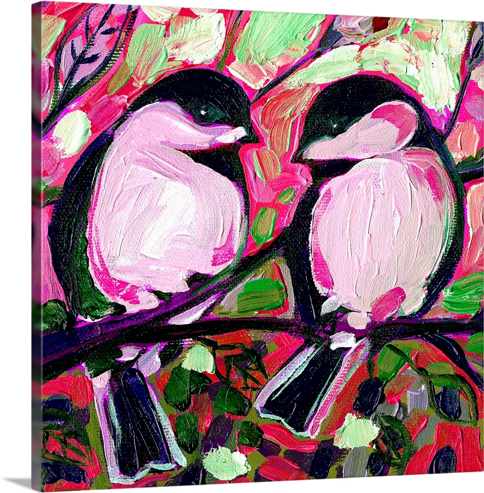 Large Solid-Faced Canvas Print Wall Art Print 20 x 20 entitled Valentine Chickadees in Love Solid-Faced Canvas Print entitled Valentine Chickadees in Love.  A painting of two birds sitting on a tree branch surrounded by vibrant colors and flowers.  Multiple sizes available.  Primary colors within this image include Forest Green, Dark Blue, Black, White.  Made in USA.  All products come with a 365 day workmanship guarantee.  Archival-quality UV-resistant inks.  Featuring a proprietary design, our canvases produce the tightest corners without any bubbles, ripples, or bumps and will not warp or sag over time.  Canvas is handcrafted and made-to-order in the United States using high quality artist-grade canvas.