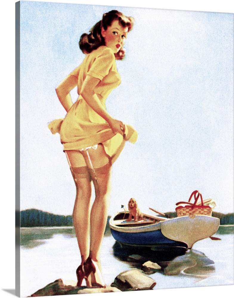 Large Gallery-Wrapped Canvas Wall Art Print 20 x 24 entitled Gone Fishing Pin Up Girl Gallery-Wrapped Canvas entitled Gone Fishing Pin Up Girl.  Vintage 50s pin-up girl holding up her skirt as she makes her way to her boat.  Multiple sizes available.  Primary colors within this image include Peach Black White Muted Blue.  Made in the USA.  Satisfaction guaranteed.  Inks used are latex-based and designed to last.  Canvas is designed to prevent fading.  Canvas is acid-free and 20 millimeters thick.