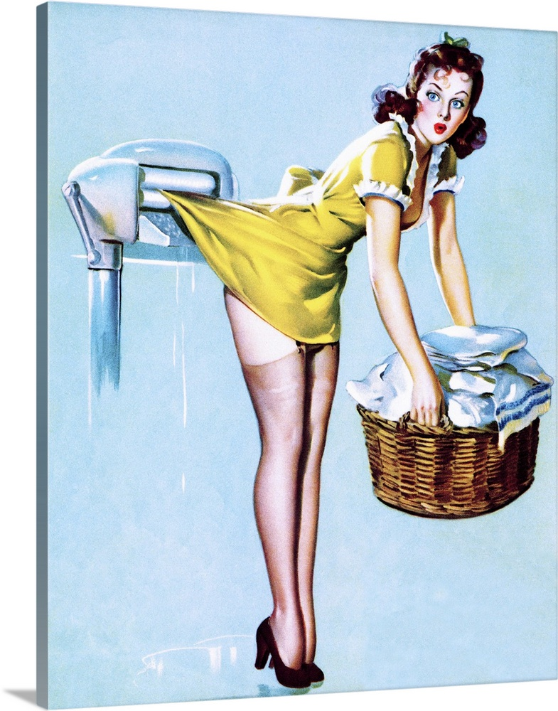 Large Gallery-Wrapped Canvas Wall Art Print 16 x 20 entitled Laundry Pin Up Girl Gallery-Wrapped Canvas entitled Laundry Pin Up Girl.  Vintage 50s illustration of a young woman doing laundry with her skirt caught in rollers.  Multiple sizes available.  Primary colors within this image include Light Yellow Black Pale Blue Royal Blue.  Made in the USA.  Satisfaction guaranteed.  Archival-quality UV-resistant inks.  Canvas is designed to prevent fading.  Canvas is acid-free and 20 millimeters thick.