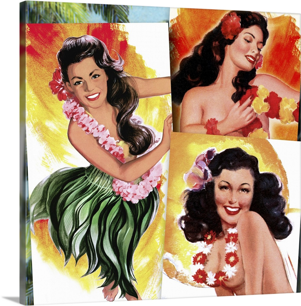 Large Gallery-Wrapped Canvas Wall Art Print 16 x 16 entitled Tropical Pin Up Girls Gallery-Wrapped Canvas entitled Tropical Pin Up Girls.  Vintage 50s illustration of three young women wearing leis and grass skirts.  Multiple sizes available.  Primary colors within this image include Orange Yellow Dark Red Black.  Made in USA.  Satisfaction guaranteed.  Archival-quality UV-resistant inks.  Museum-quality artist-grade canvas mounted on sturdy wooden stretcher bars 1.5 thick.  Comes ready to hang.  Canvas is a 65 polyester 35 cotton base with two acrylic latex primer basecoats and a semi-gloss inkjet receptive topcoat.