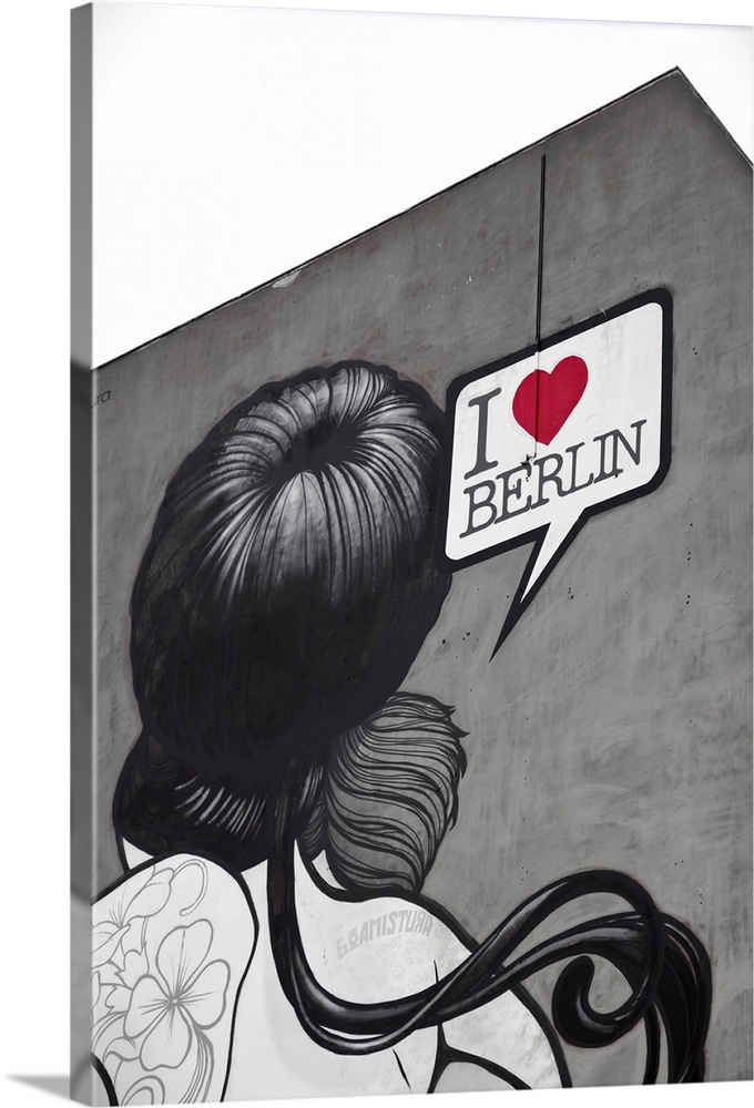 Large Solid-Faced Canvas Print Wall Art Print 20 x 30 entitled 'I Love Berlin' mural on building, Berlin, Germany Solid-Faced Canvas Print entitled I Love Berlin mural on building, Berlin, Germany.  Multiple sizes available.  Primary colors within this image include Dark Red, Dark Gray, Gray, White.  Made in the USA.  Satisfaction guaranteed.  Archival-quality UV-resistant inks.  Canvas is handcrafted and made-to-order in the United States using high quality artist-grade canvas.  Featuring a proprietary design, our canvases produce the tightest corners without any bubbles, ripples, or bumps and will not warp or sag over time.