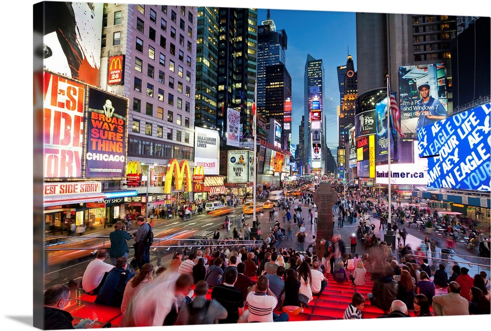 Large Solid-Faced Canvas Print Wall Art Print 30 x 20 entitled New York City, Manhattan, Times Square Solid-Faced Canvas Print entitled New York City, Manhattan, Times Square.  USA, New York City, Manhattan,  Times Square.  Multiple sizes available.  Primary colors within this image include Pink, Peach, Black, Pale Blue.  Made in USA.  All products come with a 365 day workmanship guarantee.  Archival-quality UV-resistant inks.  Canvas is handcrafted and made-to-order in the United States using high quality artist-grade canvas.  Canvas depth is 1.25 and includes a finished backing with pre-installed hanging hardware.