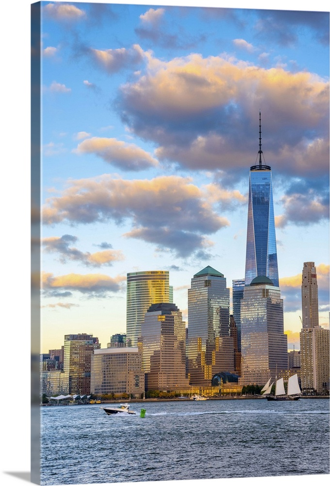 Large Solid-Faced Canvas Print Wall Art Print 24 x 36 entitled New York, Manhattan, World Trade Center, Freedom Tower Solid-Faced Canvas Print entitled New York, Manhattan, World Trade Center, Freedom Tower.  USA, New York, Manhattan, Lower Manhattan and World Trade Center, Freedom Tower.  Multiple sizes available.  Primary colors within this image include Brown, Black, Pale Blue, Gray Blue.  Made in USA.  All products come with a 365 day workmanship guarantee.  Archival-quality UV-resistant inks.  Canvas depth is 1.25 and includes a finished backing with pre-installed hanging hardware.  Featuring a proprietary design, our canvases produce the tightest corners without any bubbles, ripples, or bumps and will not warp or sag over time.