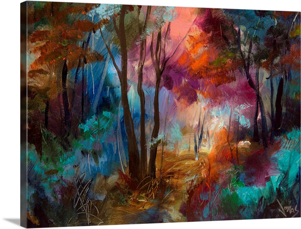 Large Solid-Faced Canvas Print Wall Art Print 40 x 30 entitled Love Grove Solid-Faced Canvas Print entitled Love Grove .  High quality reproduction from original artwork by renowned Asheville, NC artist, Jonas Gerard.  Multiple sizes available.  Primary colors within this image include Brown, Black, Muted Blue, Dark Forest Green.  Made in the USA.  Satisfaction guaranteed.  Archival-quality UV-resistant inks.  Canvas is handcrafted and made-to-order in the United States using high quality artist-grade canvas.  Canvas depth is 1.25 and includes a finished backing with pre-installed hanging hardware.