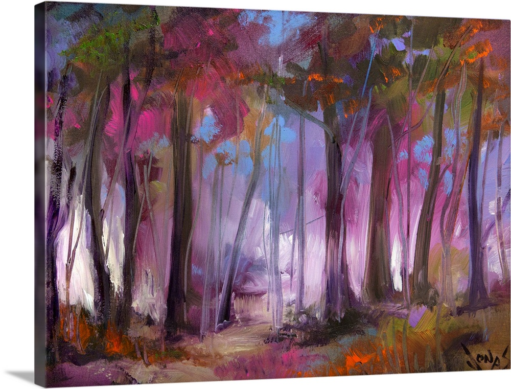 Large Solid-Faced Canvas Print Wall Art Print 40 x 30 entitled Love Grove Solid-Faced Canvas Print entitled Love Grove .  A contemporary painting of a dark forest that has a purple hue over it.  Multiple sizes available.  Primary colors within this image include Brown, White, Muted Blue, Dark Forest Green.  Made in the USA.  Satisfaction guaranteed.  Inks used are latex-based and designed to last.  Archival inks prevent fading and preserve as much fine detail as possible with no over-saturation or color shifting.  Canvas is handcrafted and made-to-order in the United States using high quality artist-grade canvas.