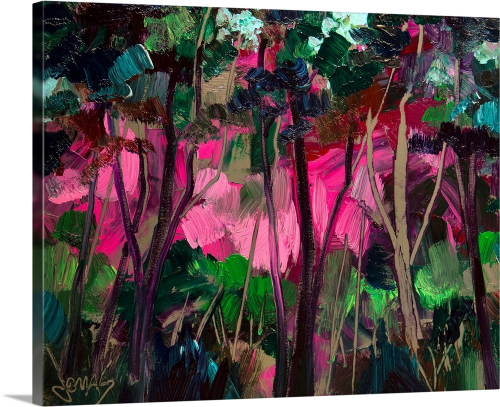 Large Solid-Faced Canvas Print Wall Art Print 30 x 24 entitled Love Grove Solid-Faced Canvas Print entitled Love Grove .  High quality reproduction from original artwork by renowned Asheville, NC artist, Jonas Gerard.  Multiple sizes available.  Primary colors within this image include Forest Green, Plum, Light Purple, Black.  Made in USA.  All products come with a 365 day workmanship guarantee.  Archival-quality UV-resistant inks.  Archival inks prevent fading and preserve as much fine detail as possible with no over-saturation or color shifting.  Canvas depth is 1.25 and includes a finished backing with pre-installed hanging hardware.
