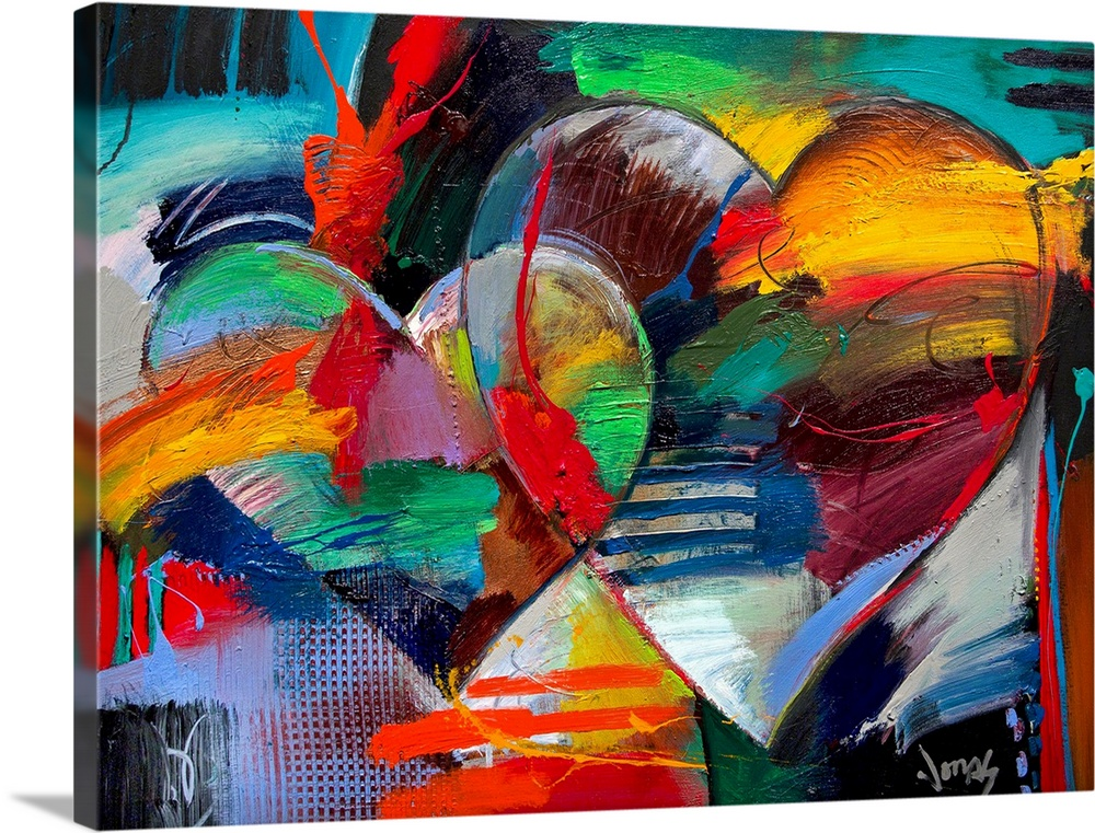 Large Solid-Faced Canvas Print Wall Art Print 40 x 30 entitled Love In Love III Solid-Faced Canvas Print entitled Love In Love III.  Colorful abstract painting of two linking hearts.  Multiple sizes available.  Primary colors within this image include Red, Black, Muted Blue, Teal.  Made in the USA.  Satisfaction guaranteed.  Inks used are latex-based and designed to last.  Archival inks prevent fading and preserve as much fine detail as possible with no over-saturation or color shifting.  Canvas is handcrafted and made-to-order in the United States using high quality artist-grade canvas.
