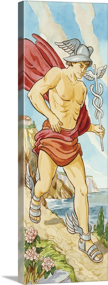 Large Gallery-Wrapped Canvas Wall Art Print 10 x 30 entitled Hermes (Greek), Mercury (Roman), mythology Gallery-Wrapped Canvas entitled Hermes Greek, Mercury Roman, mythology.  Multiple sizes available.  Primary colors within this image include Dark Red, Brown, Peach, Silver.  Made in USA.  Satisfaction guaranteed.  Inks used are latex-based and designed to last.  Canvas is acid-free and 20 millimeters thick.  Canvas is a 65 polyester, 35 cotton base, with two acrylic latex primer basecoats and a semi-gloss inkjet receptive topcoat.