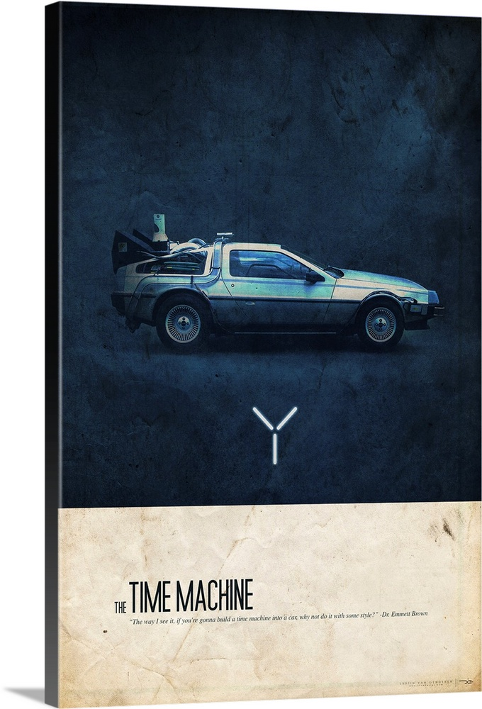 Large Solid-Faced Canvas Print Wall Art Print 20 x 30 entitled The Time Machine Solid-Faced Canvas Print entitled The Time Machine.  Big canvas art of the Delorean car from Back to the Future with text that reads The Time Machine.  Multiple sizes available.  Primary colors within this image include White, Dark Navy Blue.  Made in the USA.  Satisfaction guaranteed.  Inks used are latex-based and designed to last.  Canvas depth is 1.25 and includes a finished backing with pre-installed hanging hardware.  Featuring a proprietary design, our canvases produce the tightest corners without any bubbles, ripples, or bumps and will not warp or sag over time.