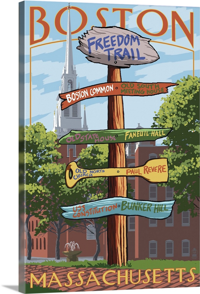 Large Solid-Faced Canvas Print Wall Art Print 24 x 36 entitled Boston, Massachusetts - Freedom Trail Sign Destinations: Re... Solid-Faced Canvas Print entitled Boston, Massachusetts - Freedom Trail Sign Destinations Retro Travel Poster.  Multiple sizes available.  Primary colors within this image include Peach, Black, Gray, White.  Made in the USA.  Satisfaction guaranteed.  Inks used are latex-based and designed to last.  Featuring a proprietary design, our canvases produce the tightest corners without any bubbles, ripples, or bumps and will not warp or sag over time.  Canvas depth is 1.25 and includes a finished backing with pre-installed hanging hardware.