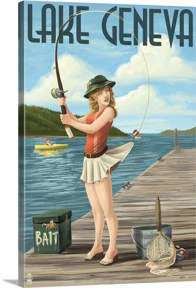 Large Gallery-Wrapped Canvas Wall Art Print 16 x 24 entitled Lake Geneva, Wisconsin - Pinup Girl Fishing: Retro Travel Poster Gallery-Wrapped Canvas entitled Lake Geneva Wisconsin - Pinup Girl Fishing Retro Travel Poster.  Retro stylized art poster of a girl standing in the waves fishing with the hook caught in the back of her short skirt. .  Multiple sizes available.  Primary colors within this image include Pink Peach Dark Forest Green Light Gray Blue.  Made in USA.  All products come with a 365 day workmanship guarantee.  Inks used are latex-based and designed to last.  Canvases have a UVB protection built in to protect against fading and moisture and are designed to last for over 100 years.  Canvas is designed to prevent fading.