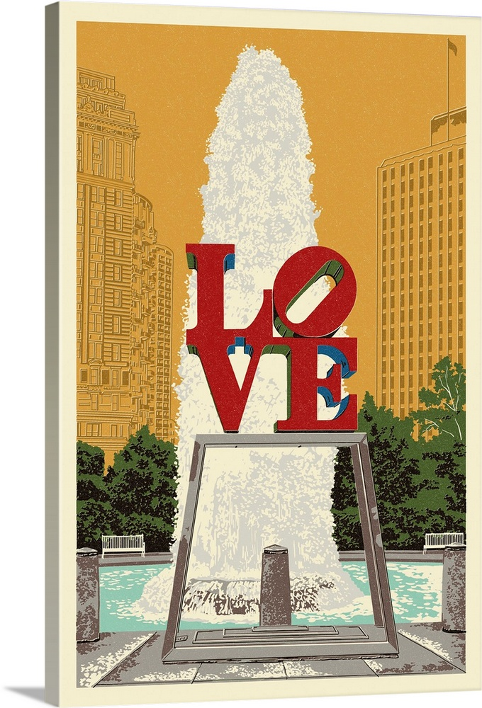 Large Solid-Faced Canvas Print Wall Art Print 20 x 30 entitled Philadelphia, Pennsylvania - Love Statue - Letterpress: Ret... Solid-Faced Canvas Print entitled Philadelphia, Pennsylvania - Love Statue - Letterpress Retro Travel Poster.  Multiple sizes available.  Primary colors within this image include Dark Red, Peach, Black, White.  Made in USA.  All products come with a 365 day workmanship guarantee.  Archival-quality UV-resistant inks.  Featuring a proprietary design, our canvases produce the tightest corners without any bubbles, ripples, or bumps and will not warp or sag over time.  Archival inks prevent fading and preserve as much fine detail as possible with no over-saturation or color shifting.