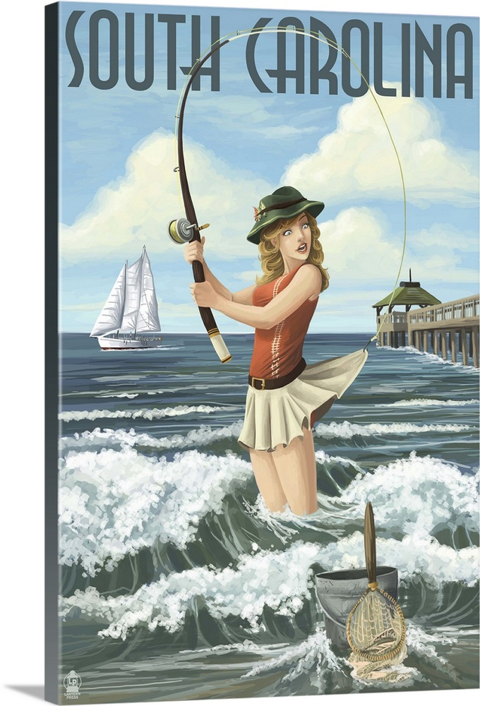 Large Gallery-Wrapped Canvas Wall Art Print 16 x 24 entitled South Carolina - Pinup Girl Surf Fishing: Retro Travel Poster Gallery-Wrapped Canvas entitled South Carolina - Pinup Girl Surf Fishing Retro Travel Poster.  Retro stylized art poster of a girl standing in the waves fishing with the hook caught in the back of her short skirt. .  Multiple sizes available.  Primary colors within this image include Peach Dark Gray Light Gray Blue.  Made in USA.  Satisfaction guaranteed.  Inks used are latex-based and designed to last.  Canvases have a UVB protection built in to protect against fading and moisture and are designed to last for over 100 years.  Canvases are stretched across a 1.5 inch thick wooden frame with easy-to-mount hanging hardware.