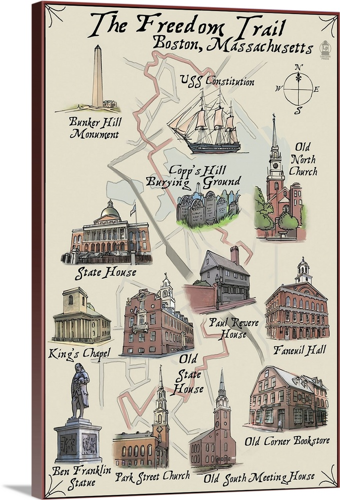 Large Solid-Faced Canvas Print Wall Art Print 24 x 36 entitled The Freedom Trail - Boston, MA: Retro Travel Poster Solid-Faced Canvas Print entitled The Freedom Trail - Boston, MA Retro Travel Poster.  Multiple sizes available.  Primary colors within this image include Brown, Black, Silver.  Made in USA.  All products come with a 365 day workmanship guarantee.  Inks used are latex-based and designed to last.  Featuring a proprietary design, our canvases produce the tightest corners without any bubbles, ripples, or bumps and will not warp or sag over time.  Canvas depth is 1.25 and includes a finished backing with pre-installed hanging hardware.