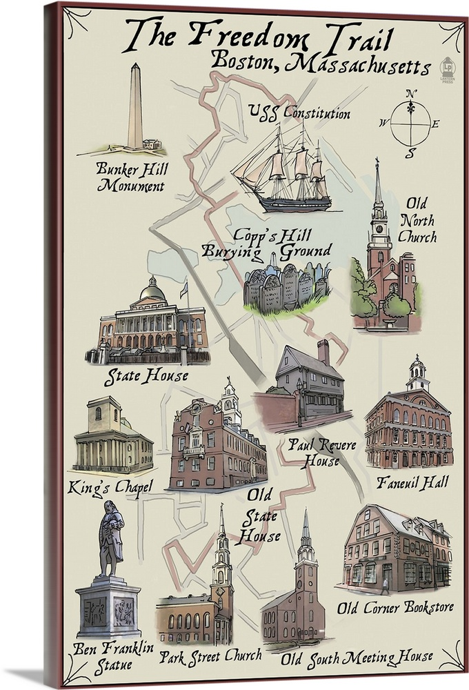 Large Solid-Faced Canvas Print Wall Art Print 24 x 36 entitled The Freedom Trail, Boston, Massachusetts Solid-Faced Canvas Print entitled The Freedom Trail, Boston, Massachusetts.  Multiple sizes available.  Primary colors within this image include Black, Dark Gray, Silver.  Made in the USA.  Satisfaction guaranteed.  Archival-quality UV-resistant inks.  Canvas depth is 1.25 and includes a finished backing with pre-installed hanging hardware.  Canvas is handcrafted and made-to-order in the United States using high quality artist-grade canvas.