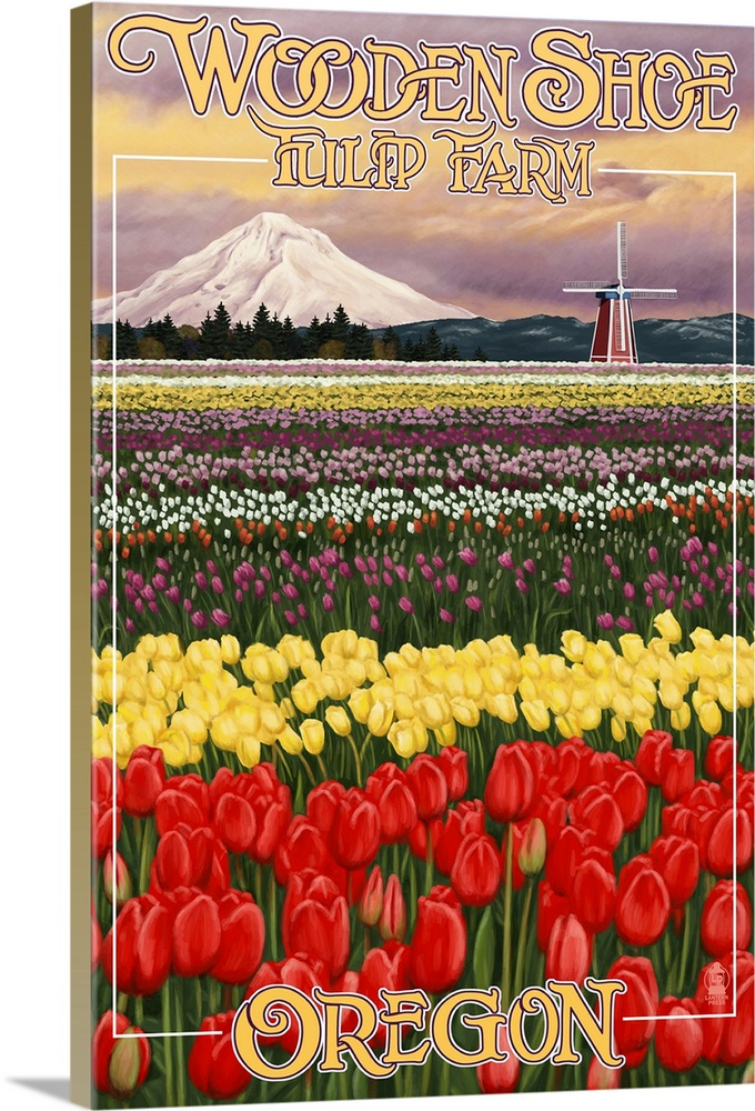 Large Solid-Faced Canvas Print Wall Art Print 20 x 30 entitled Wooden Shoe Tulip Farm - Woodburn, Oregon: Retro Travel Poster Solid-Faced Canvas Print entitled Wooden Shoe Tulip Farm - Woodburn, Oregon Retro Travel Poster.  Multiple sizes available.  Primary colors within this image include Red, Brown, Peach, White.  Made in the USA.  Satisfaction guaranteed.  Archival-quality UV-resistant inks.  Archival inks prevent fading and preserve as much fine detail as possible with no over-saturation or color shifting.  Canvas is handcrafted and made-to-order in the United States using high quality artist-grade canvas.