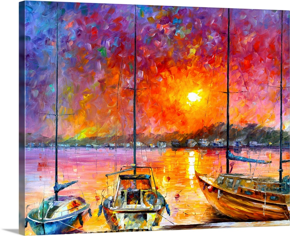 Large Solid-Faced Canvas Print Wall Art Print 45 x 36 entitled Ships of Freedom Solid-Faced Canvas Print entitled Ships of Freedom.  Warm and bold colored painting of sailboats docked in front of a sunset.  Multiple sizes available.  Primary colors within this image include Orange, Yellow, Black.  Made in USA.  Satisfaction guaranteed.  Inks used are latex-based and designed to last.  Archival inks prevent fading and preserve as much fine detail as possible with no over-saturation or color shifting.  Featuring a proprietary design, our canvases produce the tightest corners without any bubbles, ripples, or bumps and will not warp or sag over time.