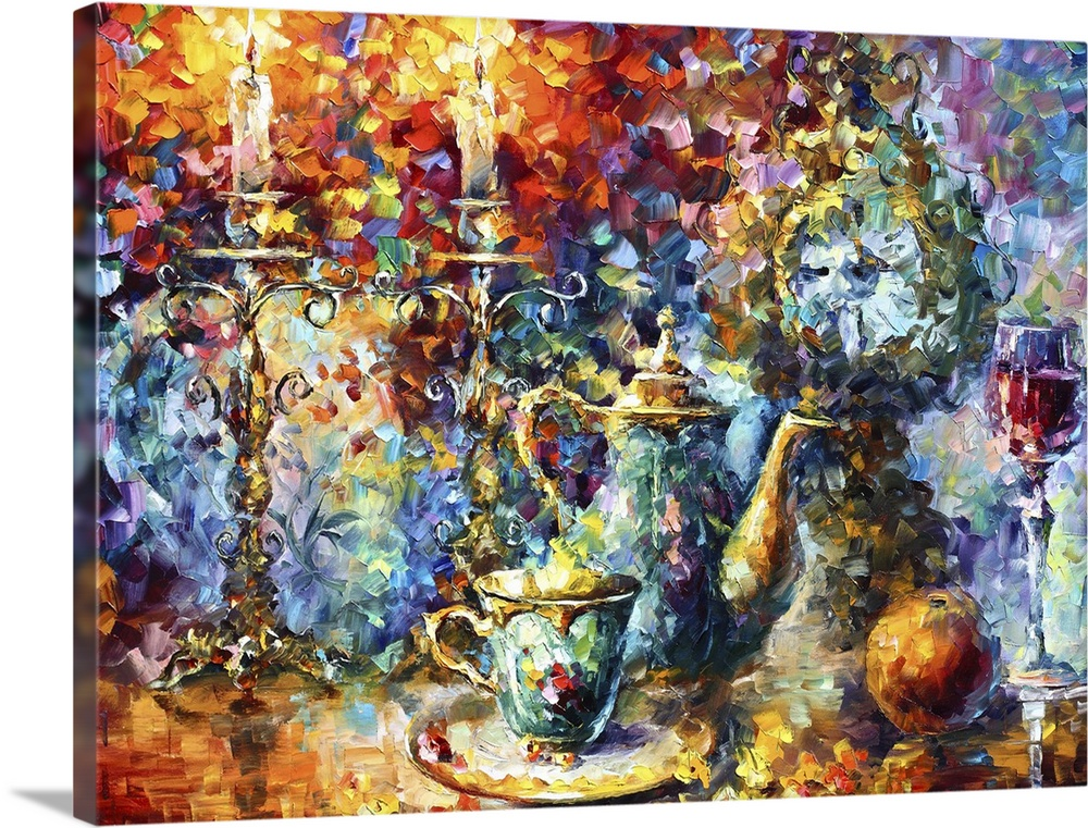 Large Solid-Faced Canvas Print Wall Art Print 40 x 30 entitled Tea Time Solid-Faced Canvas Print entitled Tea Time.  Multiple sizes available.  Primary colors within this image include Dark Red, Plum, Peach, White.  Made in the USA.  Satisfaction guaranteed.  Inks used are latex-based and designed to last.  Featuring a proprietary design, our canvases produce the tightest corners without any bubbles, ripples, or bumps and will not warp or sag over time.  Canvas depth is 1.25 and includes a finished backing with pre-installed hanging hardware.
