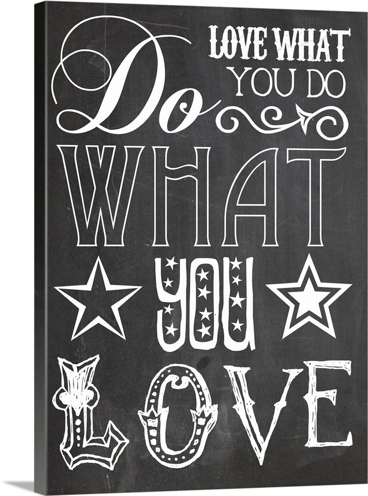 Large Solid-Faced Canvas Print Wall Art Print 18 x 24 entitled Do What you Love Black Solid-Faced Canvas Print entitled Do What you Love Black.  Multiple sizes available.  Primary colors within this image include Dark Gray, White.  Made in the USA.  All products come with a 365 day workmanship guarantee.  Inks used are latex-based and designed to last.  Canvas is handcrafted and made-to-order in the United States using high quality artist-grade canvas.  Canvas depth is 1.25 and includes a finished backing with pre-installed hanging hardware.