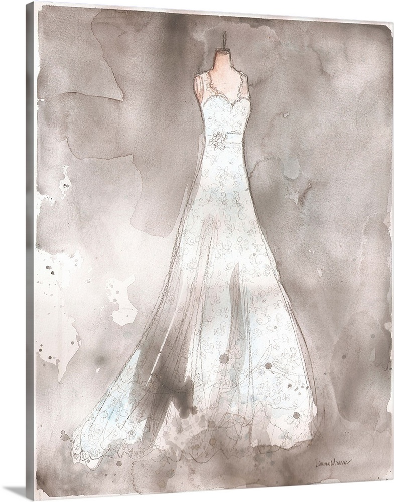 Large Solid-Faced Canvas Print Wall Art Print 24 x 30 entitled Laura S Solid-Faced Canvas Print entitled Laura S.  Watercolor painting of a white wedding dress on a dress form.  Multiple sizes available.  Primary colors within this image include Black, Gray, White.  Made in USA.  All products come with a 365 day workmanship guarantee.  Archival-quality UV-resistant inks.  Featuring a proprietary design, our canvases produce the tightest corners without any bubbles, ripples, or bumps and will not warp or sag over time.  Canvas is handcrafted and made-to-order in the United States using high quality artist-grade canvas.