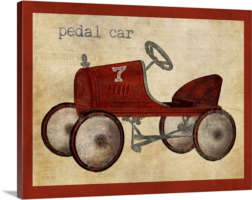 Large Solid-Faced Canvas Print Wall Art Print 30 x 24 entitled Vintage Riding Toy Pedal Car Solid-Faced Canvas Print entitled Vintage Riding Toy Pedal Car.  Multiple sizes available.  Primary colors within this image include Dark Red, Black, Gray, Silver.  Made in USA.  Satisfaction guaranteed.  Archival-quality UV-resistant inks.  Featuring a proprietary design, our canvases produce the tightest corners without any bubbles, ripples, or bumps and will not warp or sag over time.  Canvas is handcrafted and made-to-order in the United States using high quality artist-grade canvas.