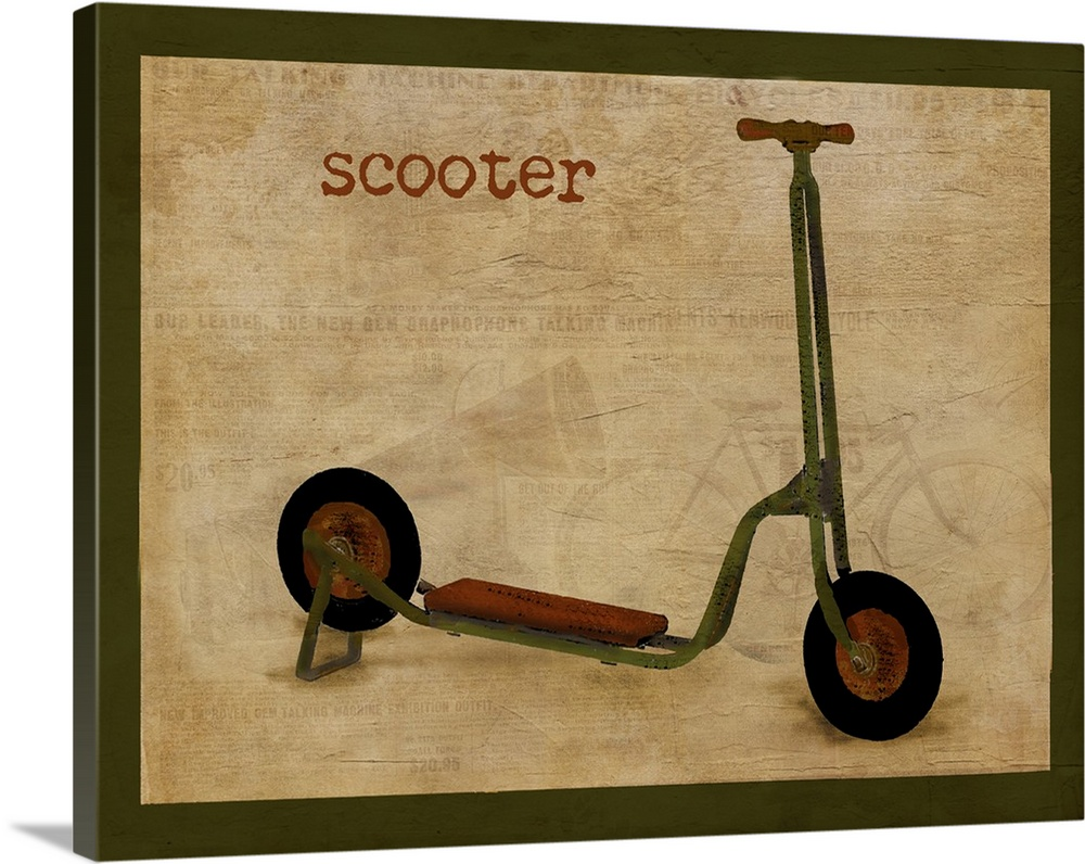 Large Solid-Faced Canvas Print Wall Art Print 30 x 24 entitled Vintage Riding Toy Scooter Solid-Faced Canvas Print entitled Vintage Riding Toy Scooter.  Multiple sizes available.  Primary colors within this image include Peach, Dark Forest Green.  Made in the USA.  All products come with a 365 day workmanship guarantee.  Inks used are latex-based and designed to last.  Canvas depth is 1.25 and includes a finished backing with pre-installed hanging hardware.  Canvas is handcrafted and made-to-order in the United States using high quality artist-grade canvas.
