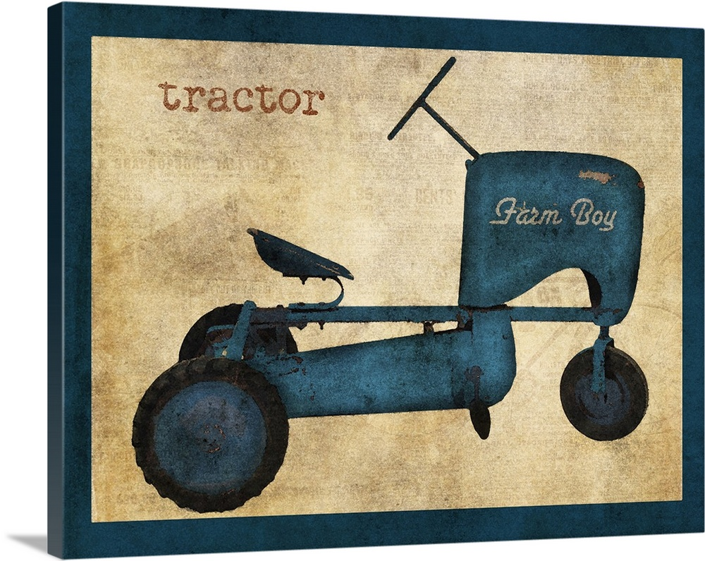 Large Solid-Faced Canvas Print Wall Art Print 30 x 24 entitled Vintage Riding Toy Tractor Solid-Faced Canvas Print entitled Vintage Riding Toy Tractor.  Multiple sizes available.  Primary colors within this image include Peach, Dark Navy Blue.  Made in USA.  Satisfaction guaranteed.  Inks used are latex-based and designed to last.  Canvas depth is 1.25 and includes a finished backing with pre-installed hanging hardware.  Featuring a proprietary design, our canvases produce the tightest corners without any bubbles, ripples, or bumps and will not warp or sag over time.