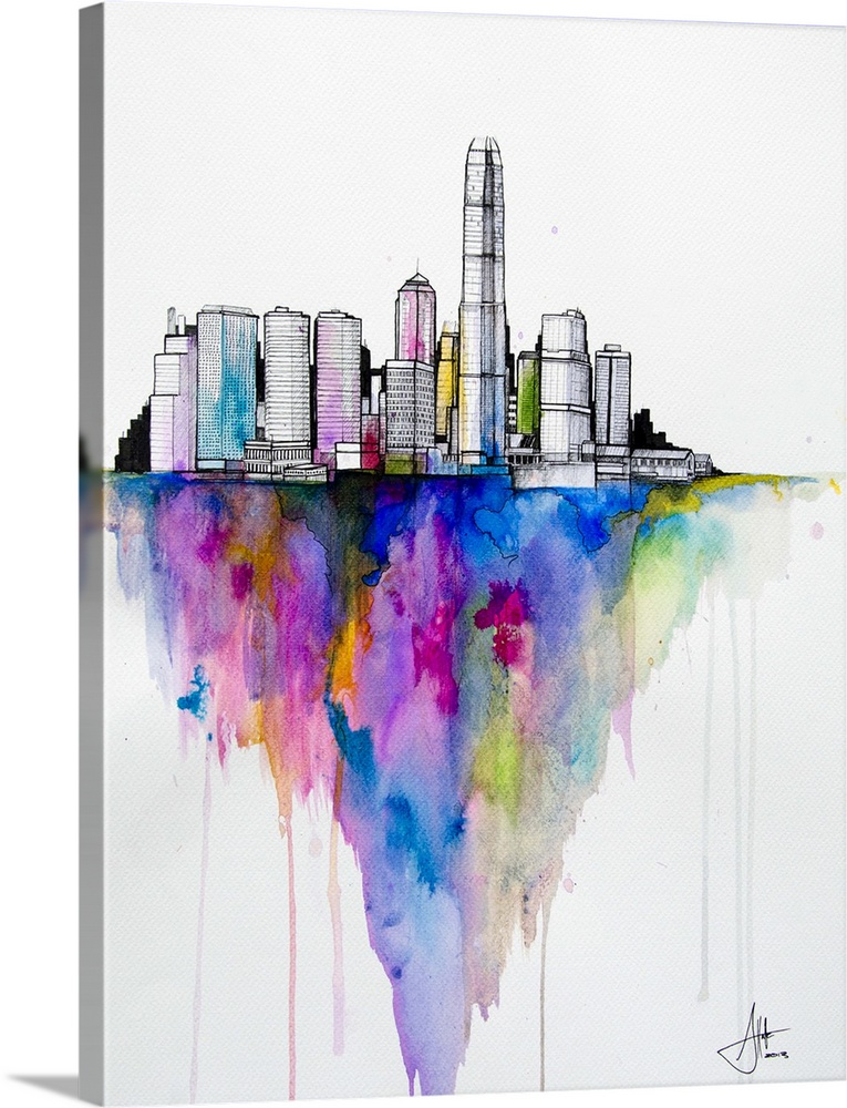 Large Solid-Faced Canvas Print Wall Art Print 30 x 40 entitled Monolith II Solid-Faced Canvas Print entitled Monolith II.  Watercolor and ink painting of a city skyline with a colorful shadow.  Multiple sizes available.  Primary colors within this image include Brown, Plum, White, Royal Blue.  Made in the USA.  Satisfaction guaranteed.  Inks used are latex-based and designed to last.  Featuring a proprietary design, our canvases produce the tightest corners without any bubbles, ripples, or bumps and will not warp or sag over time.  Canvas depth is 1.25 and includes a finished backing with pre-installed hanging hardware.