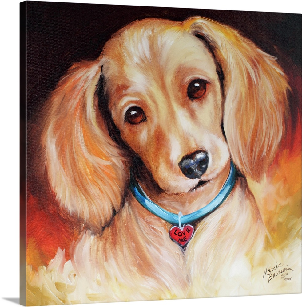 Large Solid-Faced Canvas Print Wall Art Print 20 x 20 entitled Love Me Opie Solid-Faced Canvas Print entitled Love Me Opie.  Painting of a blonde dachshund wearing a heart shaped tag that says Love Me on a square background.  Multiple sizes available.  Primary colors within this image include Orange, Dark Red, Black, Light Gray Blue.  Made in the USA.  Satisfaction guaranteed.  Archival-quality UV-resistant inks.  Canvas depth is 1.25 and includes a finished backing with pre-installed hanging hardware.  Archival inks prevent fading and preserve as much fine detail as possible with no over-saturation or color shifting.