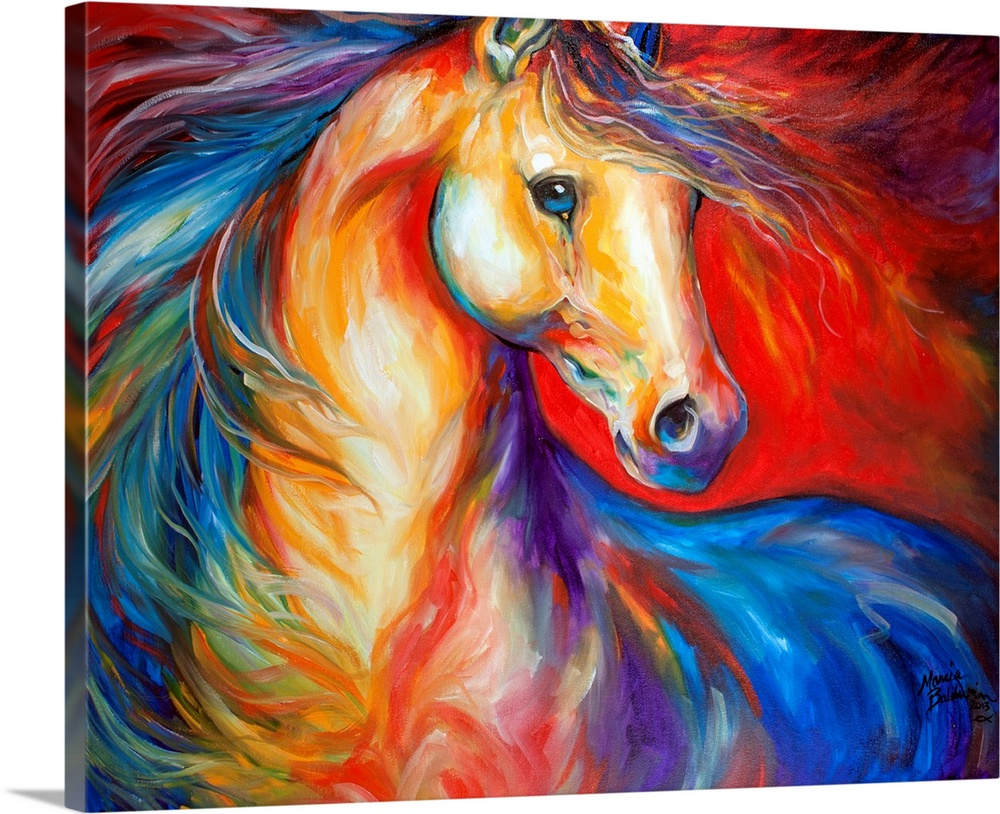 Large Solid-Faced Canvas Print Wall Art Print 45 x 36 entitled Red Stallion II Solid-Faced Canvas Print entitled Red Stallion II.  Painting capturing the wild horse mustang on canvas with the sense of freedom, bold and expressive brush stokes in bold color, to convey the extraordinary beauty of the Wild Horse.  Multiple sizes available.  Primary colors within this image include Red, Dark Red, Peach, Royal Blue.  Made in USA.  Satisfaction guaranteed.  Inks used are latex-based and designed to last.  Canvas depth is 1.25 and includes a finished backing with pre-installed hanging hardware.  Archival inks prevent fading and preserve as much fine detail as possible with no over-saturation or color shifting.
