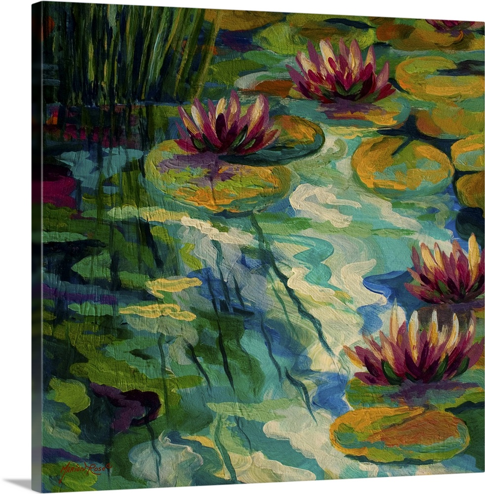 Large Solid-Faced Canvas Print Wall Art Print 20 x 20 entitled Lily Pads II Solid-Faced Canvas Print entitled Lily Pads II.  Contemporary painting of lilly pads and lotus flowers sitting on a colorful pond with the afternoon sun casting shadows on the reeds on the shore.  Multiple sizes available.  Primary colors within this image include Forest Green, Plum, Peach, Black.  Made in the USA.  Satisfaction guaranteed.  Archival-quality UV-resistant inks.  Canvas is handcrafted and made-to-order in the United States using high quality artist-grade canvas.  Featuring a proprietary design, our canvases produce the tightest corners without any bubbles, ripples, or bumps and will not warp or sag over time.
