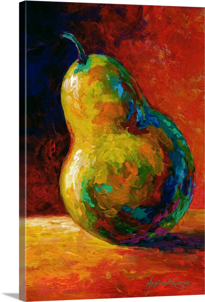 Large Solid-Faced Canvas Print Wall Art Print 20 x 30 entitled Nothing Pearsonal Solid-Faced Canvas Print entitled Nothing Pearsonal.  Contemporary artwork of a single pear resting on a table and casting a shadow, done in bold colors.  Multiple sizes available.  Primary colors within this image include Orange, Dark Red, Black.  Made in the USA.  All products come with a 365 day workmanship guarantee.  Archival-quality UV-resistant inks.  Canvas depth is 1.25 and includes a finished backing with pre-installed hanging hardware.  Archival inks prevent fading and preserve as much fine detail as possible with no over-saturation or color shifting.