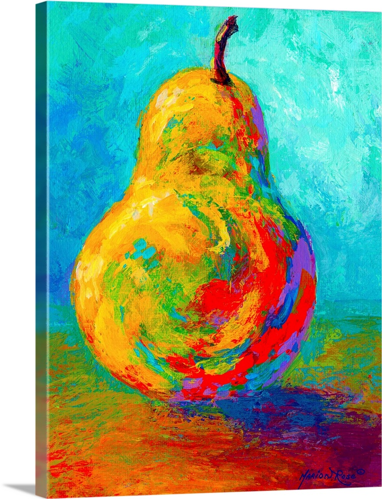 Large Solid-Faced Canvas Print Wall Art Print 30 x 40 entitled Pear II Solid-Faced Canvas Print entitled Pear II.  This vertical painting of a single piece of fruit balanced up right on the table uses vivid an unexpected colors to show the shadows and shading in this contemporary still life.  Multiple sizes available.  Primary colors within this image include Red, Orange, Royal Blue, Teal.  Made in USA.  Satisfaction guaranteed.  Archival-quality UV-resistant inks.  Featuring a proprietary design, our canvases produce the tightest corners without any bubbles, ripples, or bumps and will not warp or sag over time.  Archival inks prevent fading and preserve as much fine detail as possible with no over-saturation or color shifting.