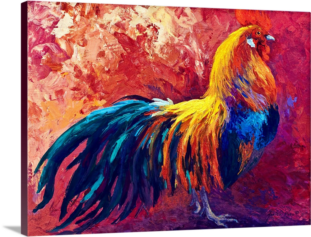 Large Solid-Faced Canvas Print Wall Art Print 40 x 30 entitled Strutting His Stuff Solid-Faced Canvas Print entitled Strutting His Stuff.  Multiple sizes available.  Primary colors within this image include Plum, Pink, Silver, Dark Navy Blue.  Made in the USA.  Satisfaction guaranteed.  Inks used are latex-based and designed to last.  Featuring a proprietary design, our canvases produce the tightest corners without any bubbles, ripples, or bumps and will not warp or sag over time.  Archival inks prevent fading and preserve as much fine detail as possible with no over-saturation or color shifting.