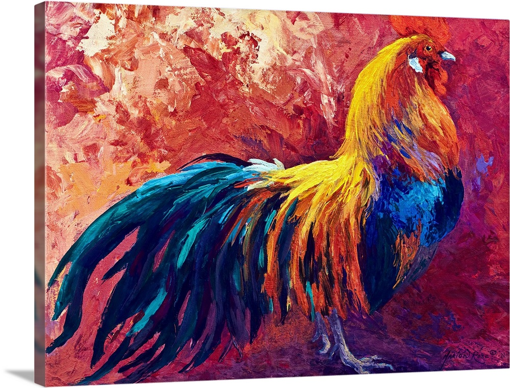 Large Solid-Faced Canvas Print Wall Art Print 40 x 30 entitled Strutting His Stuff Solid-Faced Canvas Print entitled Strutting His Stuff.  Multiple sizes available.  Primary colors within this image include Dark Blue, Plum, Pink.  Made in the USA.  All products come with a 365 day workmanship guarantee.  Inks used are latex-based and designed to last.  Featuring a proprietary design, our canvases produce the tightest corners without any bubbles, ripples, or bumps and will not warp or sag over time.  Canvas is handcrafted and made-to-order in the United States using high quality artist-grade canvas.