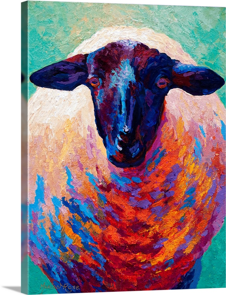 Large Solid-Faced Canvas Print Wall Art Print 30 x 40 entitled Suffolk Ewe Solid-Faced Canvas Print entitled Suffolk Ewe.  This is a contemporary painting of a sheep where the shadows have been painted with vivid and uncommon colors not normally found in nature.  Multiple sizes available.  Primary colors within this image include Dark Red, Royal Blue, Teal, Dark Navy Blue.  Made in USA.  All products come with a 365 day workmanship guarantee.  Archival-quality UV-resistant inks.  Featuring a proprietary design, our canvases produce the tightest corners without any bubbles, ripples, or bumps and will not warp or sag over time.  Canvas depth is 1.25 and includes a finished backing with pre-installed hanging hardware.