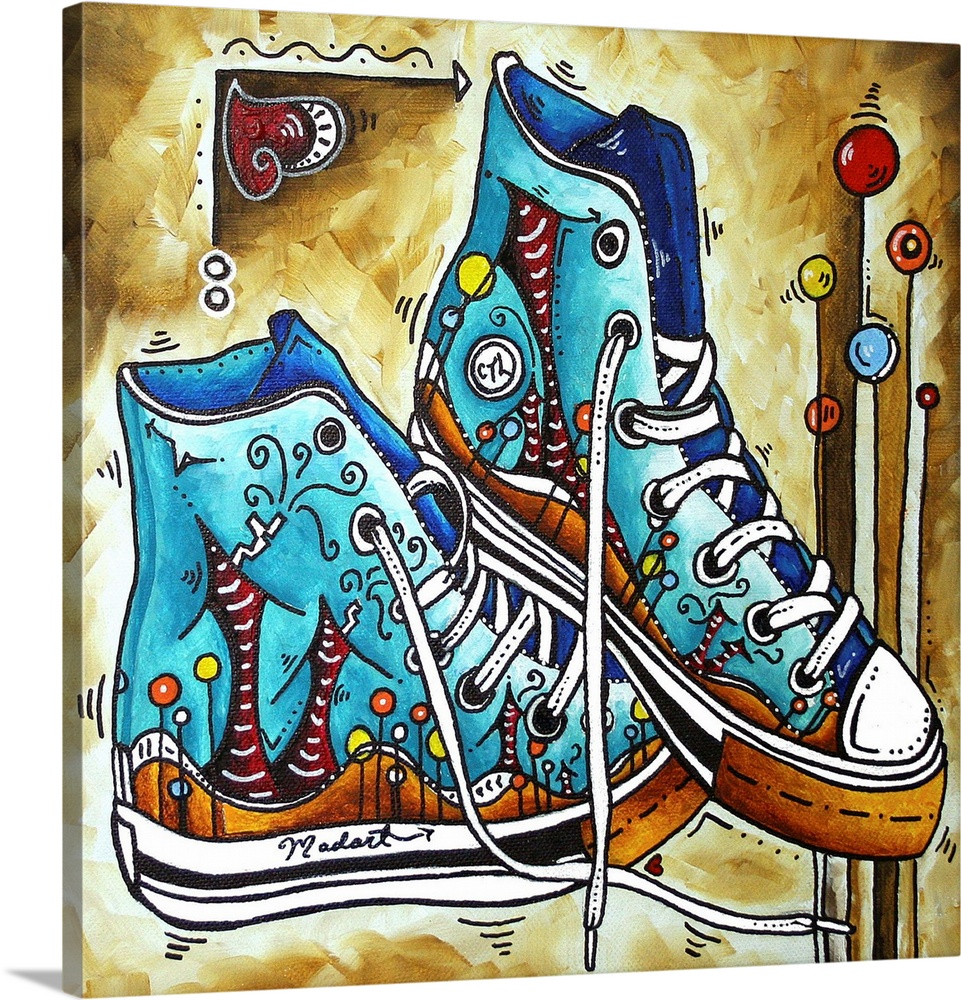 Large Solid-Faced Canvas Print Wall Art Print 20 x 20 entitled Care to Learn Converse Shoes Solid-Faced Canvas Print entitled Care to Learn Converse Shoes.  Multiple sizes available.  Primary colors within this image include Yellow, Dark Red, Black, White.  Made in the USA.  All products come with a 365 day workmanship guarantee.  Inks used are latex-based and designed to last.  Canvas is handcrafted and made-to-order in the United States using high quality artist-grade canvas.  Canvas depth is 1.25 and includes a finished backing with pre-installed hanging hardware.