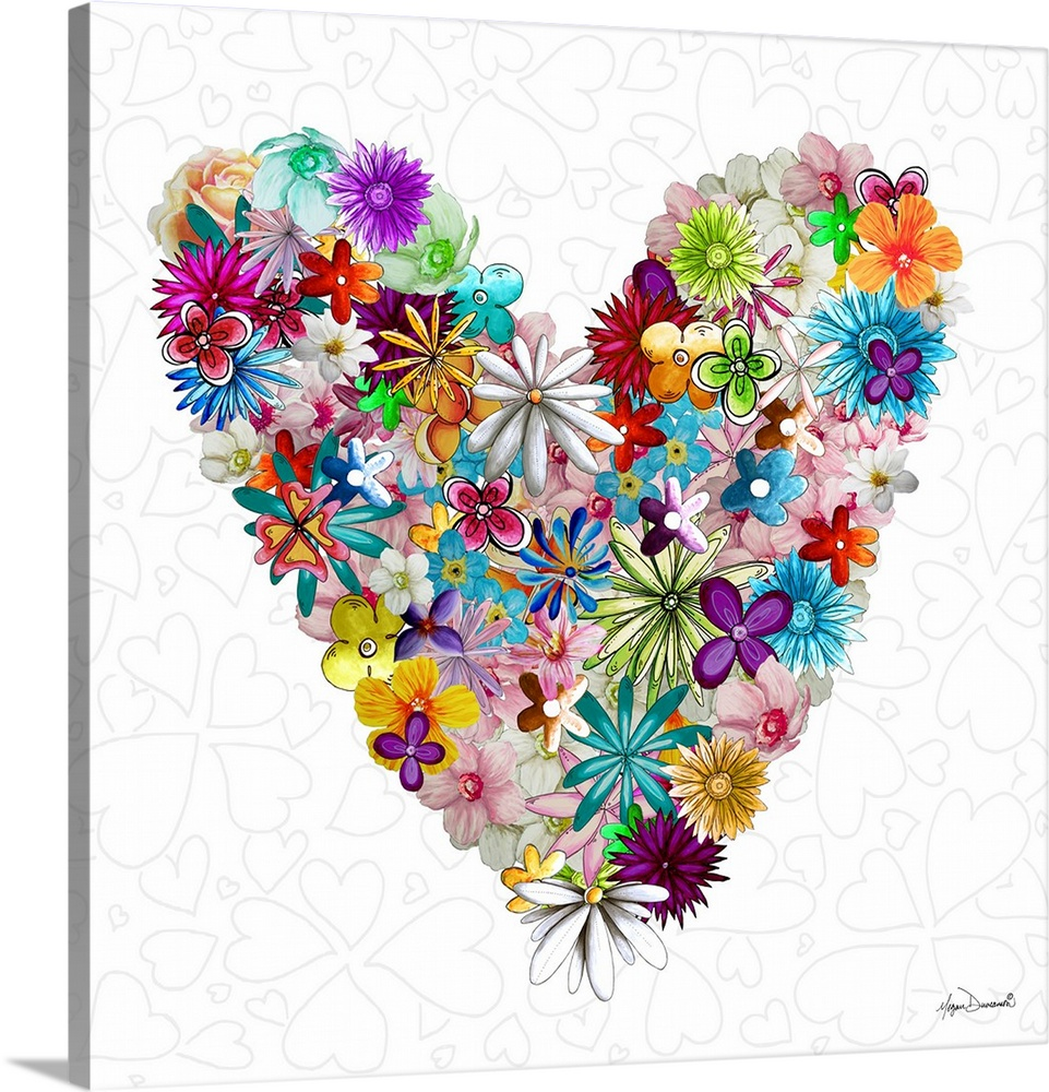 Large Solid-Faced Canvas Print Wall Art Print 20 x 20 entitled Flower Heart Love Solid-Faced Canvas Print entitled Flower Heart Love.  Illustration of several flowers in different colors making up a large heart.  Multiple sizes available.  Primary colors within this image include Plum, Light Yellow, White, Teal.  Made in USA.  Satisfaction guaranteed.  Archival-quality UV-resistant inks.  Featuring a proprietary design, our canvases produce the tightest corners without any bubbles, ripples, or bumps and will not warp or sag over time.  Canvas depth is 1.25 and includes a finished backing with pre-installed hanging hardware.