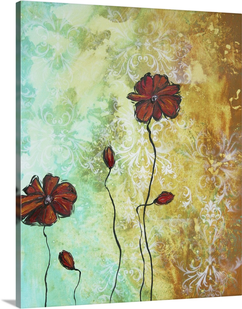 Large Solid-Faced Canvas Print Wall Art Print 24 x 30 entitled Poppy Love - Abstract Poppy Flower Painting Solid-Faced Canvas Print entitled Poppy Love - Abstract Poppy Flower Painting.  Trendy Aqua, Teal and Turquoise colors blend effortlessly in the background with amber brown in a fluid motion of color. A subtle white lace overlay adds an extra dimension to intrigue the viewer to take a closer look. In the Foreground the beautiful Poppy flowers are elegant and timeless with a touch of sophistication to complement any home decor or design style.  Multiple sizes available.  Primary colors within this image include Brown, Peach, Black, Silver.  Made in USA.  All products come with a 365 day workmanship guarantee.  Archival-quality UV-resistant inks.  Featuring a proprietary design, our canvases produce the tightest corners without any bubbles, ripples, or bumps and will not warp or sag over time.  Archival inks prevent fading and preserve as much fine detail as possible with no over-saturation or color shifting.